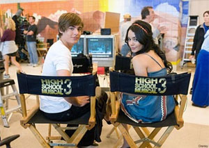 Zac Efron et Vanessa Anne Hudgens sur le plateau du film High School Musical 3